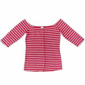 Garage Red and White Striped Off Shoulder Top Sz L